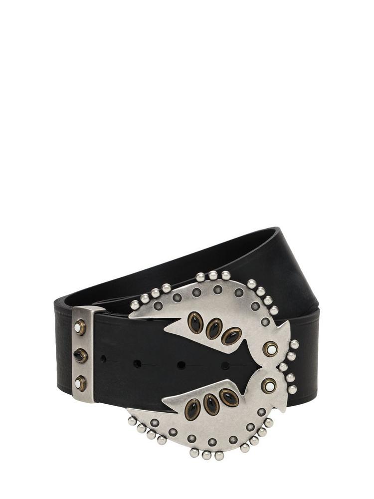 ISABEL MARANT 50mm Abigail Leather Belt in black