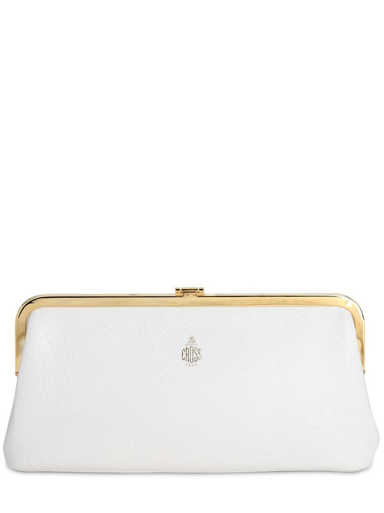 MARK CROSS Susanna Croc Embossed Leather Clutch in white