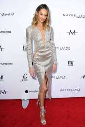 shoes,silver,sandals,sandal heels,candice swanepoel,model,red carpet dress,plunge dress,gown