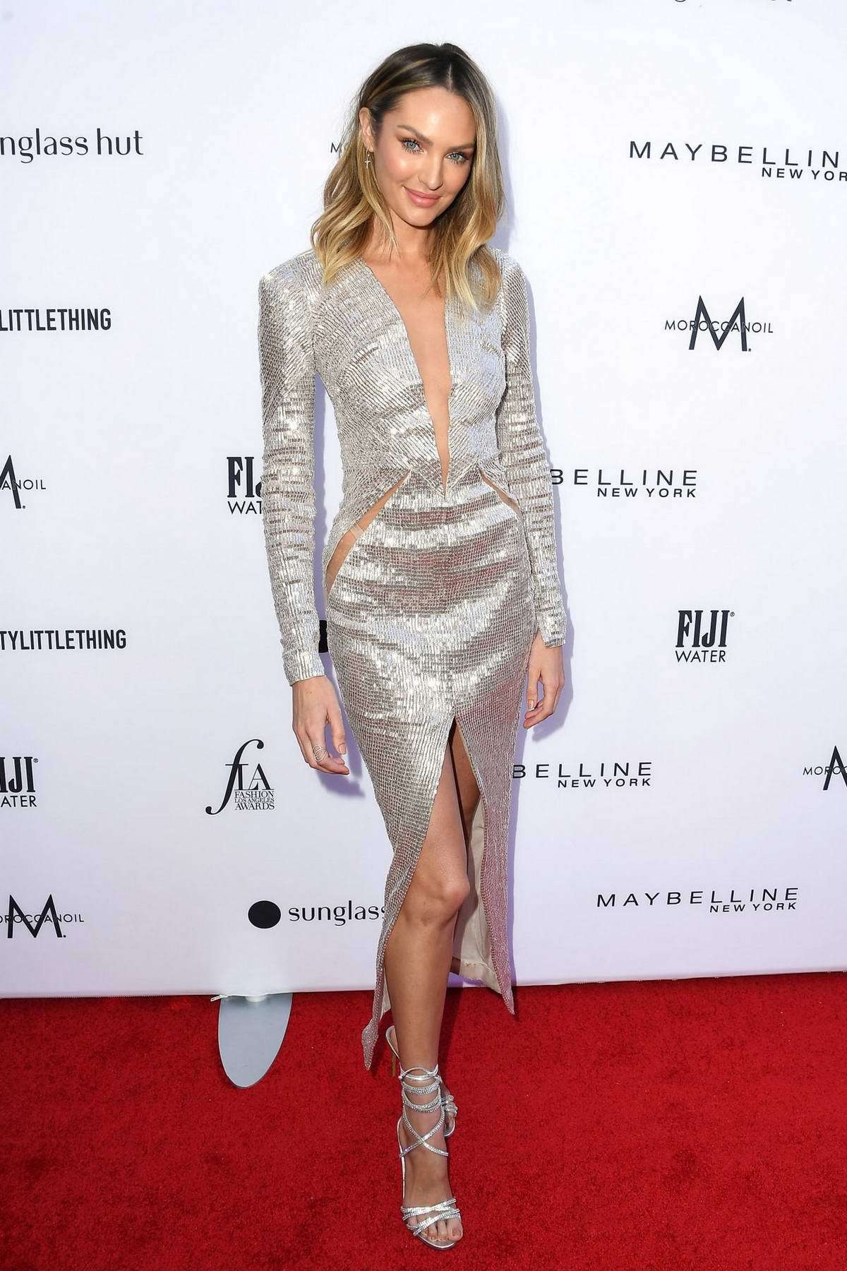 shoes silver sandals sandal heels candice swanepoel model red carpet dress plunge dress gown