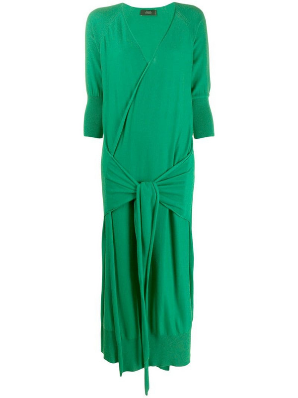 Maison Flaneur wrap style knitted dress in green