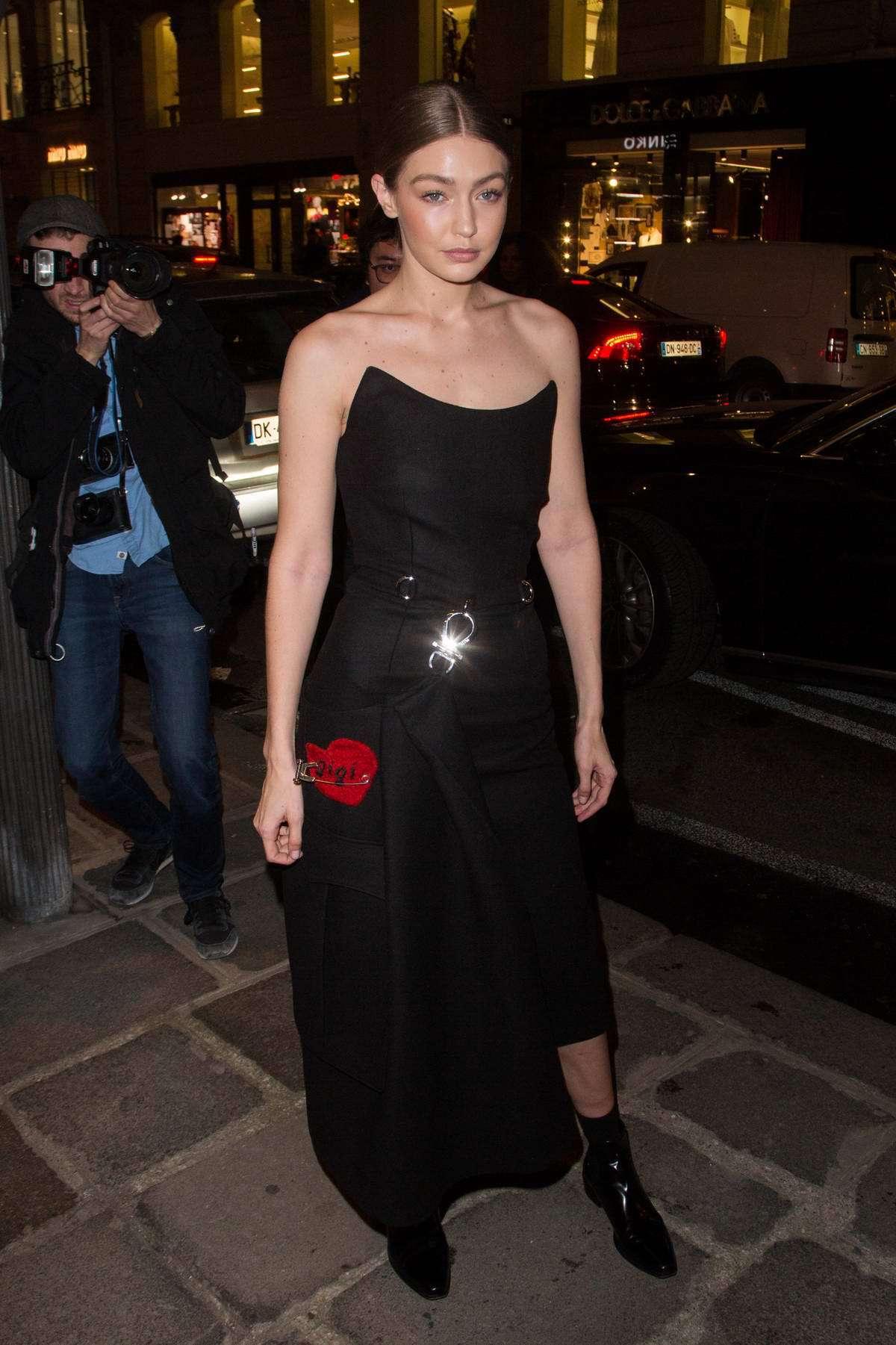 shoes gigi hadid model celebrity black dress black ankle boots