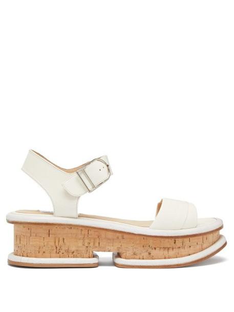 Gabriela Hearst - Bradley Leather Flatform Sandals - Womens - Red White