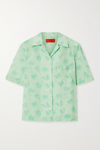 Commission - Floral-print Cotton-voile Shirt - Mint