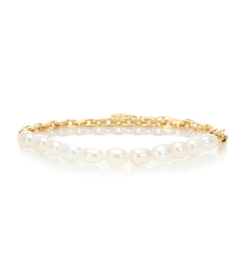 Anissa Kermiche Duel pearl and 18kt gold anklet in white