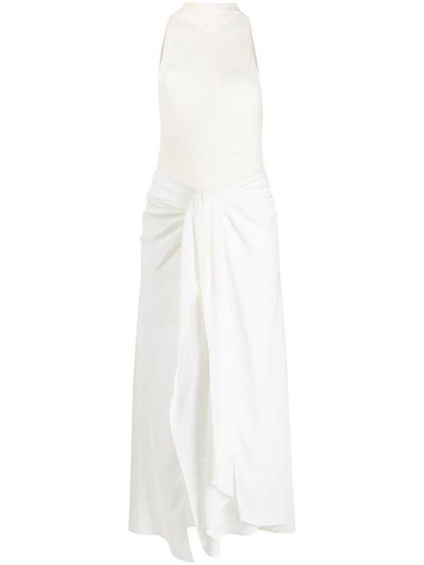 Ssheena flared mock-neck dress in white