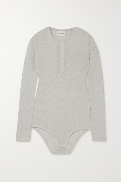 LOULOU STUDIO - Arro Ribbed Mélange Cotton Bodysuit - Light gray