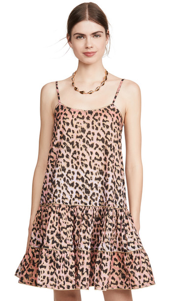 Juliet Dunn Strappy Dress in pink / red / leopard