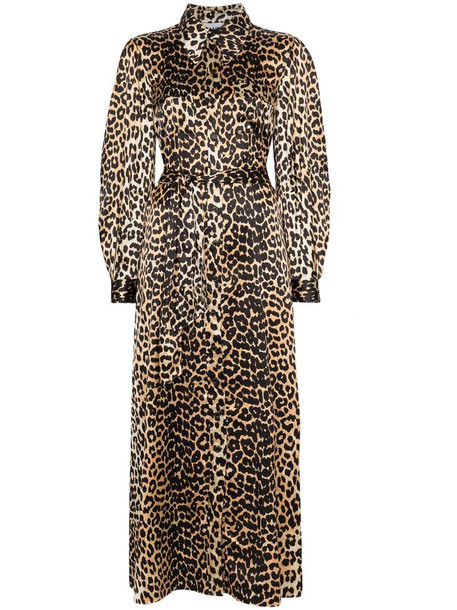 GANNI leopard print tie-waist maxi dress in brown