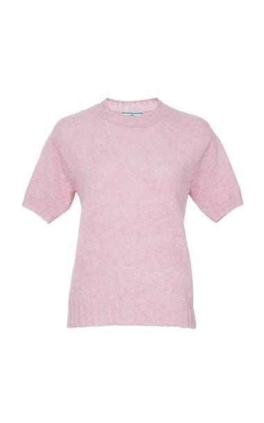 Prada Wool-Blend Short Sleeve Top Size: 42 in pink
