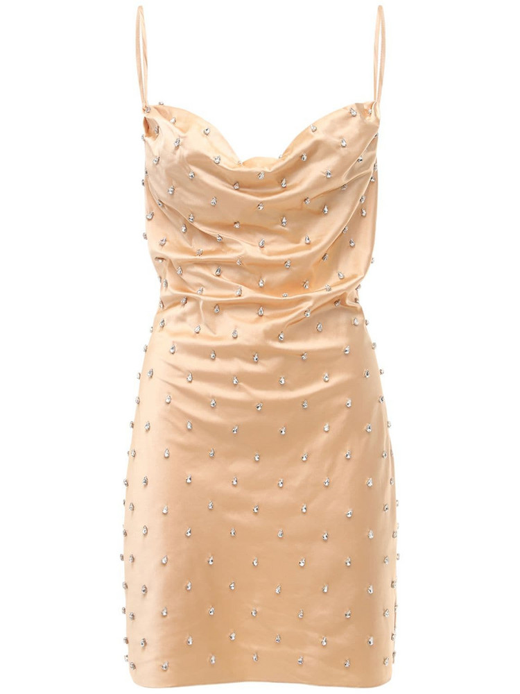GIUSEPPE DI MORABITO Embellished Satin Slip Mini Dress in beige