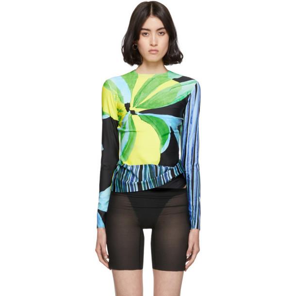 Louisa Ballou SSENSE Exclusive Multicolor Panel Long Sleeve T-Shirt in blue