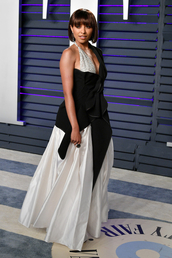 top,black,black and white,asymmetrical,asymmetrical top,kat graham,red carpet dress,oscars,celebrity
