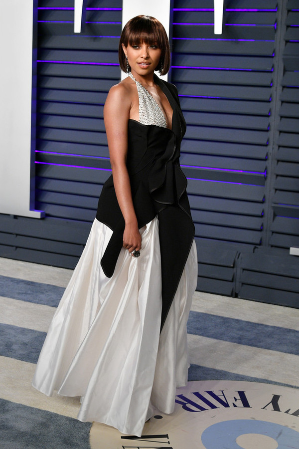 top black black and white asymmetrical asymmetrical top kat graham red carpet dress oscars celebrity
