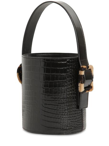 LES PETITS JOUEURS Olivia Croc Embossed Leather Bucket Bag in black