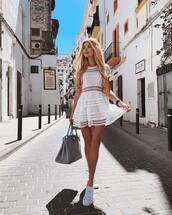 dress,mini dress,white dress,lace dress,short sleeve,white sneakers,bag