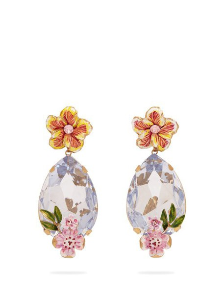 Dolce & Gabbana - Crystal And Floral Embellished Earrings - Womens - Blue