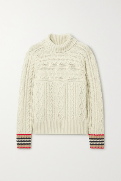 Burberry - Striped Cable-knit Cashmere Turtleneck Sweater - Beige