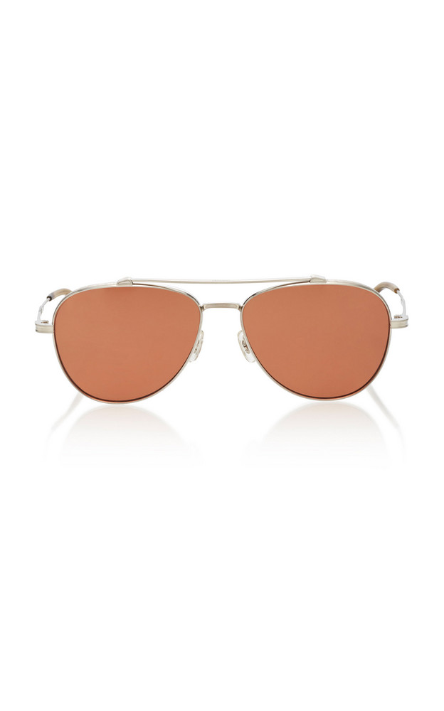Oliver Peoples Rikson Aviator Metal Sunglasses in brown