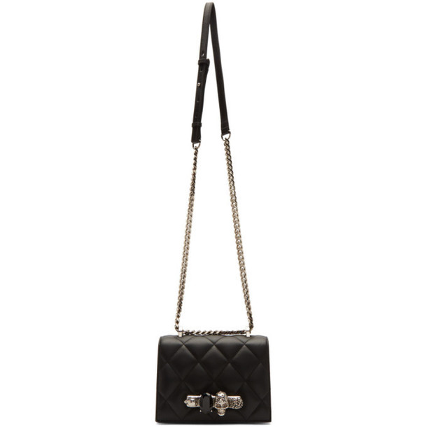 Alexander McQueen Black Quilted Small Jeweled Satchel