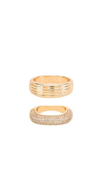Ettika Rhinestone Ring Set in Metallic Gold