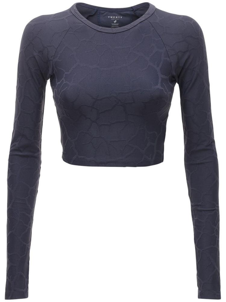 TWENTY MONTRÈAL Long Sleeve Crop Top in blue / grey