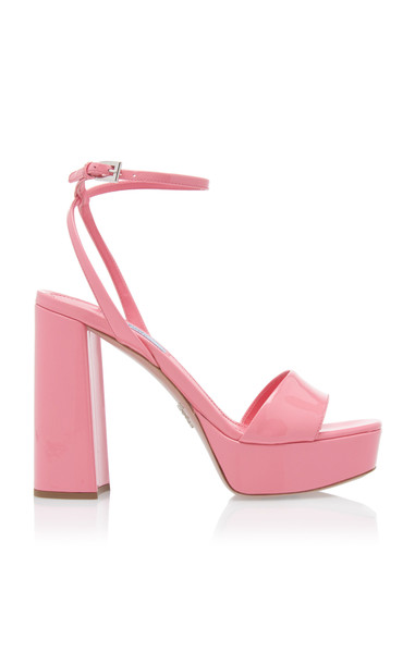 Prada Patent Leather Block Heel Sandals in pink