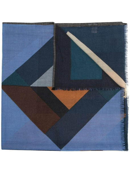 Altea geometric-pattern wool scarf in blue
