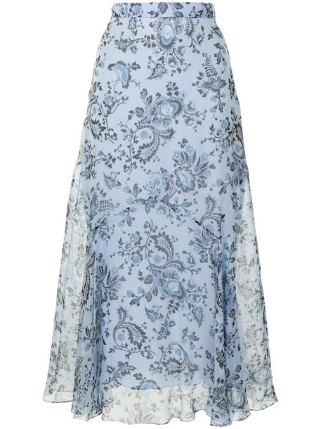 Erdem Shea floral-print silk skirt in blue