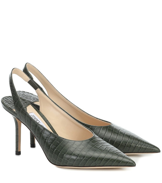 Jimmy Choo Ivy 85 slingback leather pumps in green