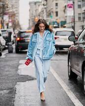 jacket,blue jacket,faux fur jacket,blue jumpsuit,long sleeves,pumps