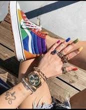 shoes,multicolor,colorblock,high top sneakers,vans