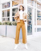 pants,high waisted pants,yellow pants,plaid,white boots,ankle boots,white turtleneck top,jacket,hat
