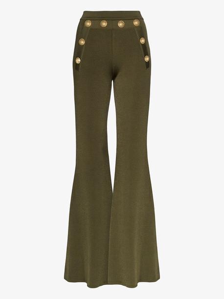 Balmain gold button flared trousers