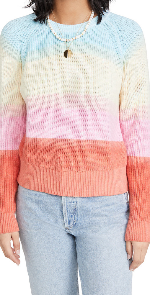 White + Warren White + Warren Recycled Cotton Rainbow Sweater