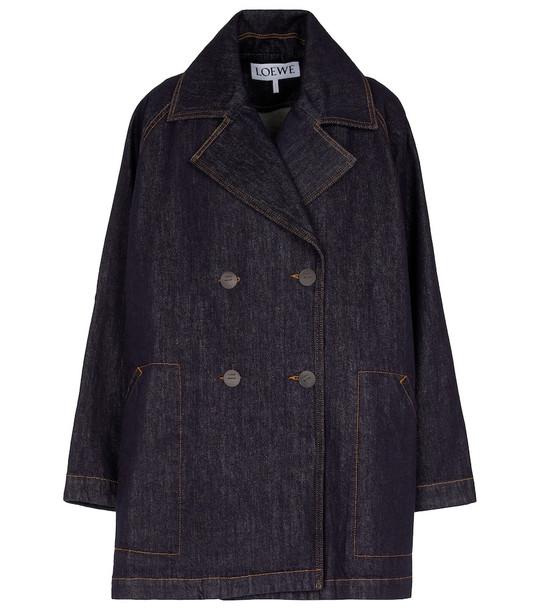 LOEWE Double-breasted denim coat in blue
