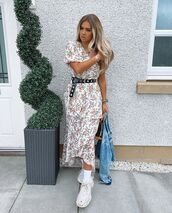 dress,white dress,floral dress,ruffle dress,sneakers,denim jacket