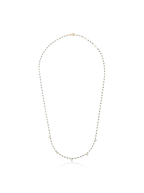 Gigi Clozeau 18kt yellow gold beaded diamond necklace in black