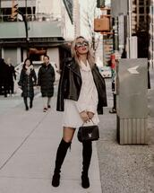 jessica luxe,blogger,sunglasses,jacket,dress,bag,shoes,fall outfits,leather jacket,shirt dress,suede boots,louis vuitton bag