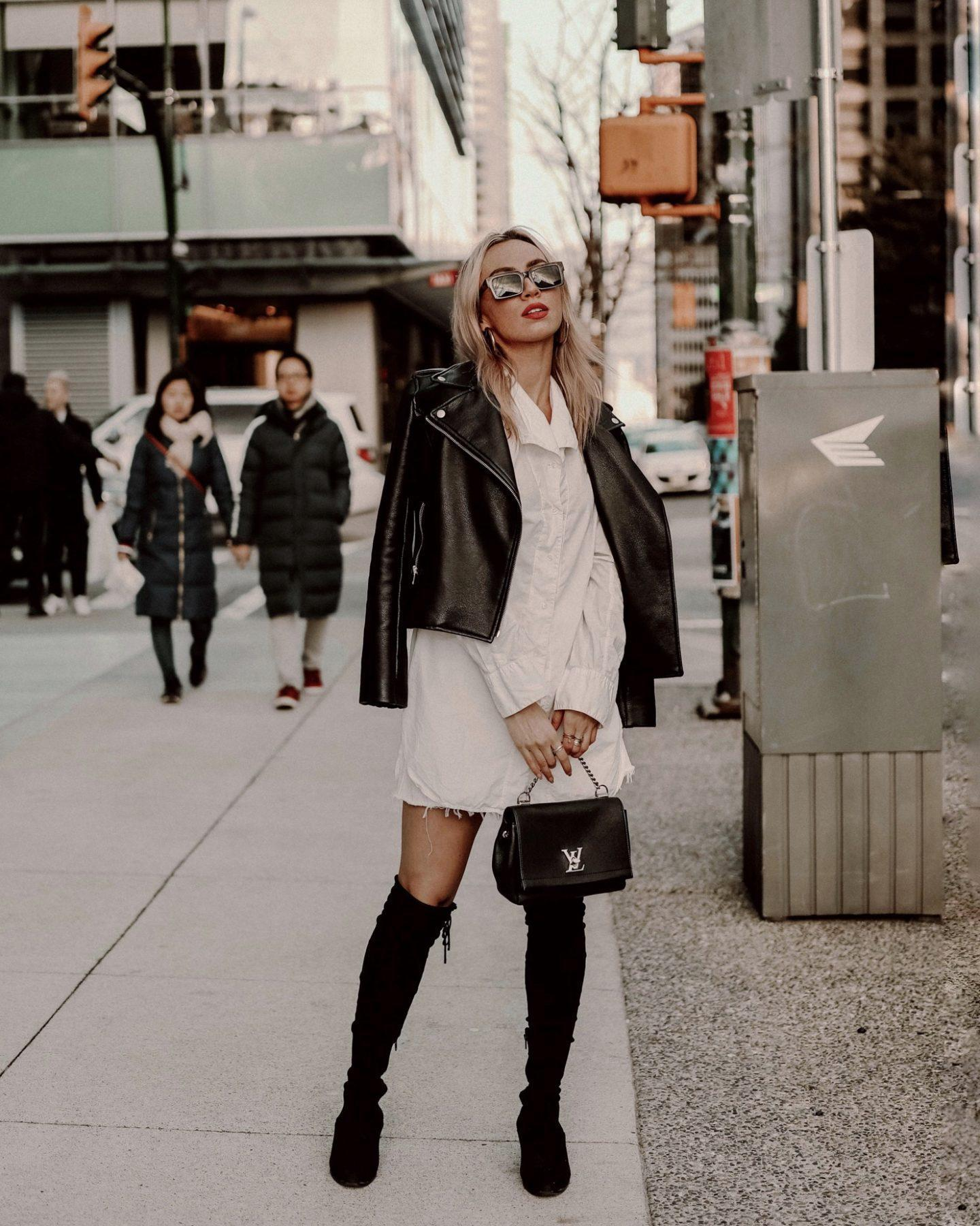 jessica luxe blogger sunglasses jacket dress bag shoes fall outfits leather jacket shirt dress suede boots louis vuitton bag