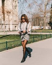 skirt,mini skirt,grey skirt,plaid skirt,mules,tights,knitted sweater