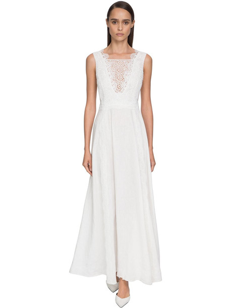 ERMANNO SCERVINO Flared Lace & Linen Dress in white