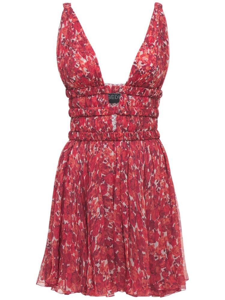 GIOVANNI BEDIN Printed Silk Crepe Mini Dress in red / multi