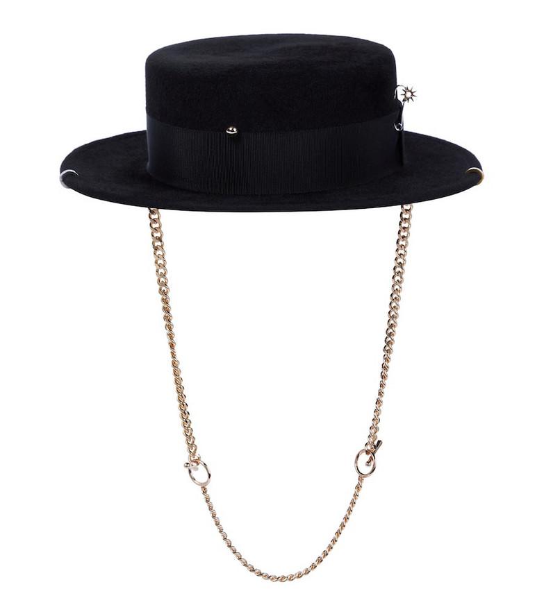 Ruslan Baginskiy Embellished felt hat in black