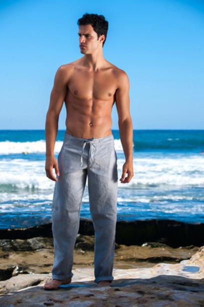 pants sauvage sauvage activewear grey linen mens bikiniluxe