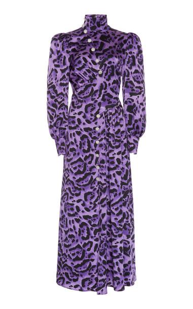 Alessandra Rich Printed Silk-Satin Midi Dress Size: 40 in purple