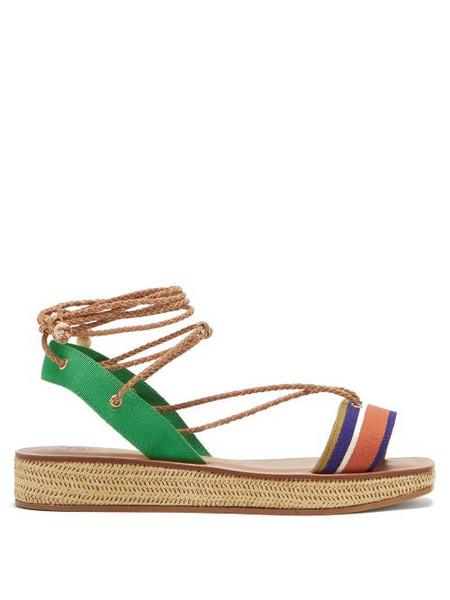 Álvaro Álvaro - Tolga Leather Wraparound Wicker Flatform Sandals - Womens - Tan Multi