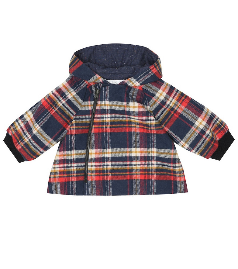 Bonpoint Baby Minois checked cotton coat in blue