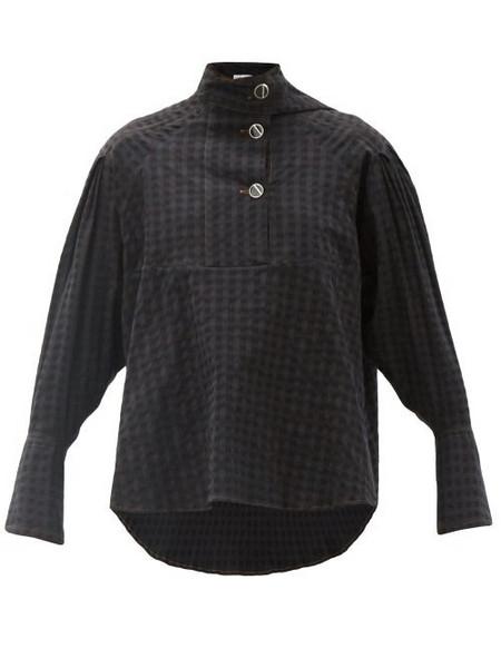 Palmer/harding Palmer//harding - Rhesus Sash-neck Check Cotton-blend Poplin Blouse - Womens - Black