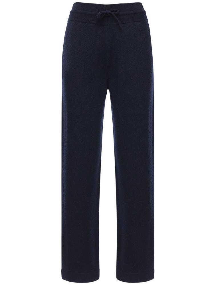 AGNONA Cashmere Knit Wide Leg Sweatpants in blue